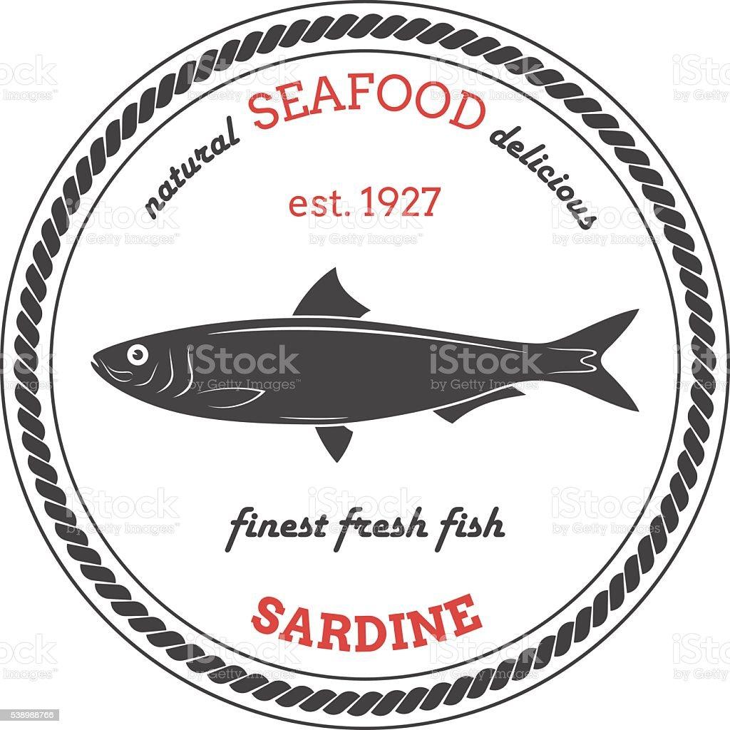 Silueta Vector de sardinas. Sardina etiqueta. - ilustración de arte vectorial