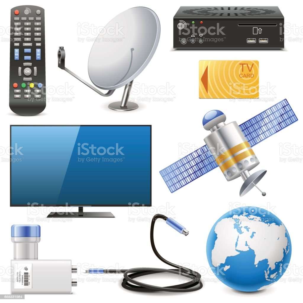 Vector Satellite Television Icons vector art illustration