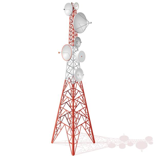 Vector satellite tower in isometric perspective isolated on white background. Vector satellite tower in isometric perspective isolated on white background. Transmission Tower telephone and television signals. Red-white communications tower. antenna aerial stock illustrations