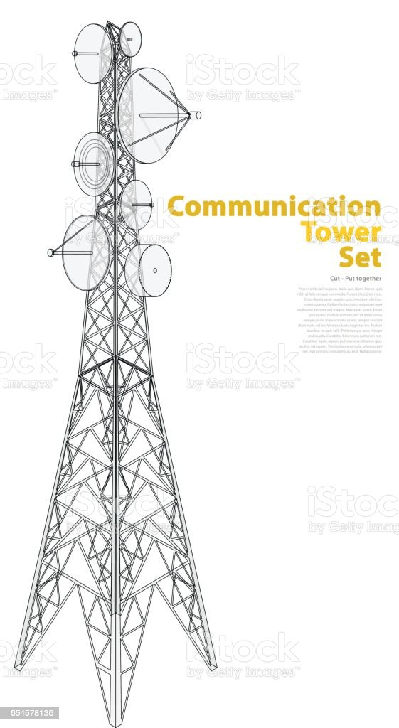 Vector satellite tower in isometric perspective isolated on white background.