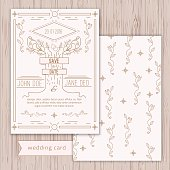 Vector save the date card template  in trendy linear style