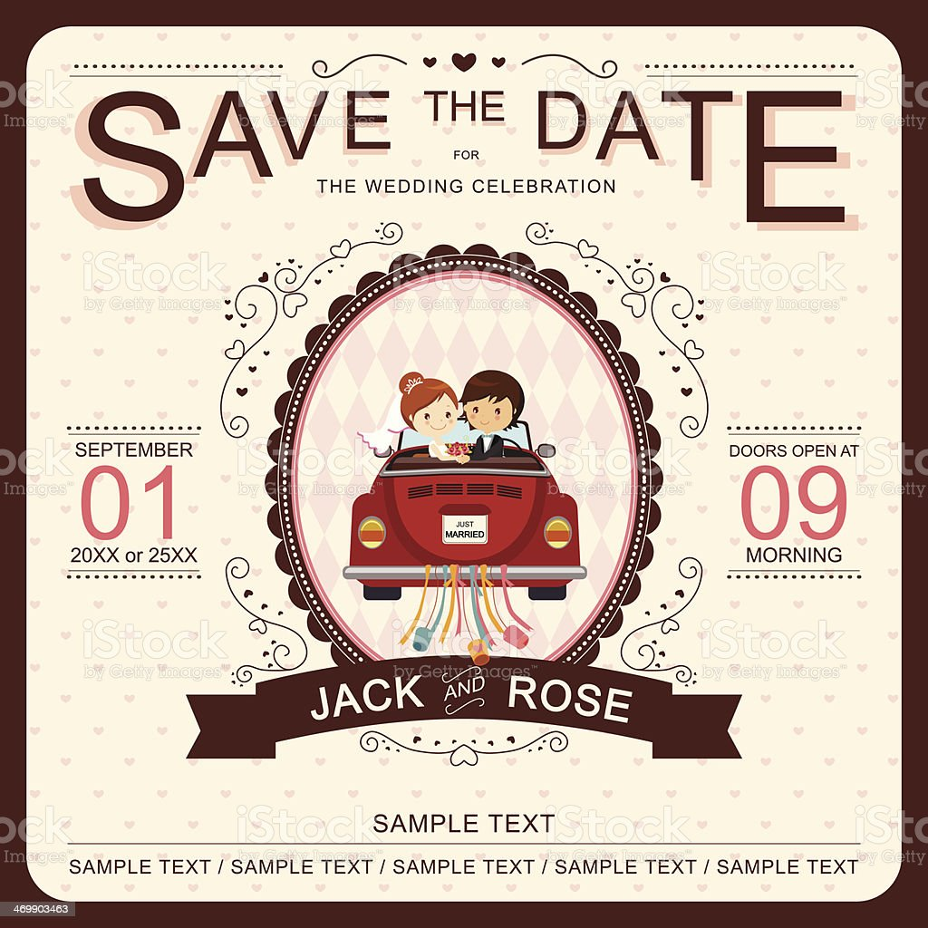 Vector 'Save the Date' wedding invitation template vector art illustration