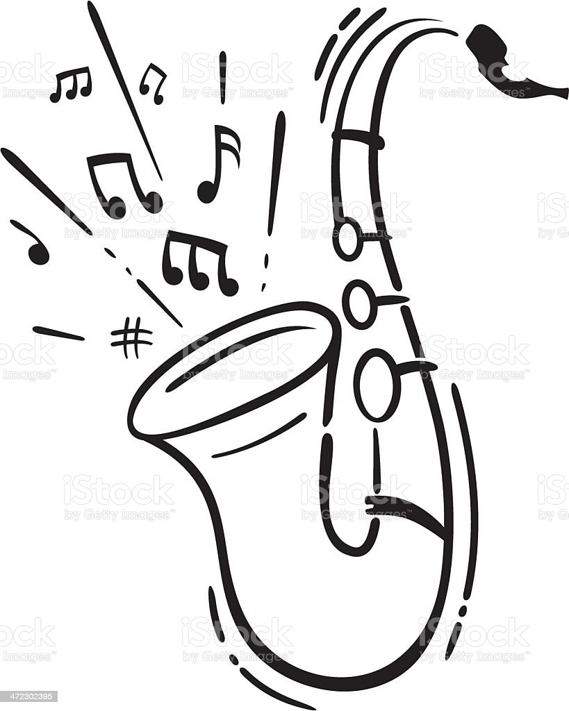 vector saxophone outline royalty-free vector saxophone outline stock vector art & more images of art