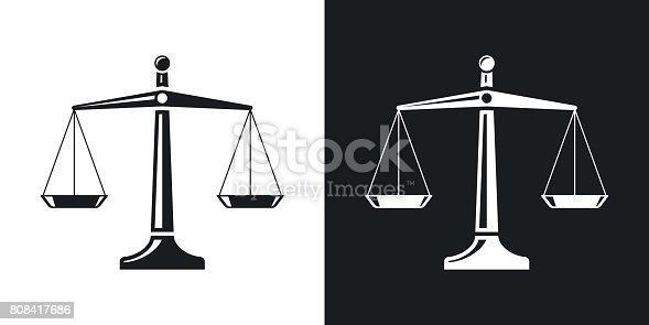 Vector scales of justice icon. Two-tone version on black and white background