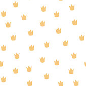 Vector scandinavian crown seamless pattern. Cute childish gold crown isolated on white background. Random texture print for fabric, textile, paper, cards, event. Design for child decor.