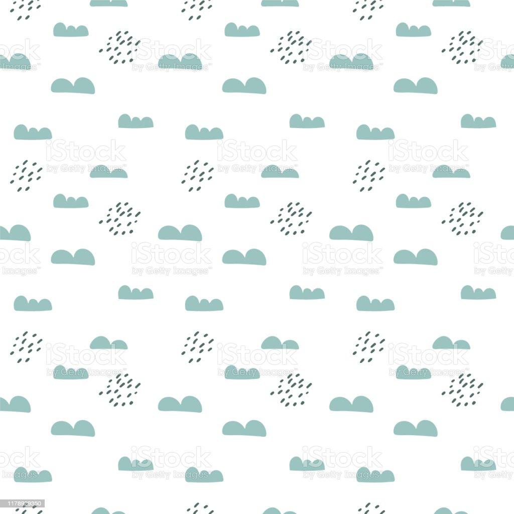 ベクトルスカンジナビアシームレスパターン雲と雨子供部屋の織物壁紙のためのかわいいシンプルな落書きの背景 いたずらのベクターアート素材や画像を多数ご用意 Istock