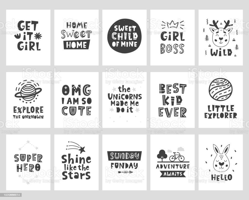 affiches de style scandinave vecteur sertie de lettrage phrases dessin es la main cliparts. Black Bedroom Furniture Sets. Home Design Ideas