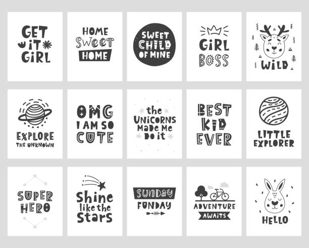 Vector scandinavian style posters set with hand drawn lettering phrases Vector scandinavian style posters set with hand drawn lettering phrases for nursery wall art, kids tee shirt print, postcard, baby shower invitation. Little explorer. Adventure awaits. Best kid ever. aphorism stock illustrations