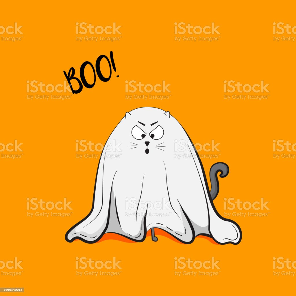 vector scary playful cat ghost illustration halloween 2018 greeting