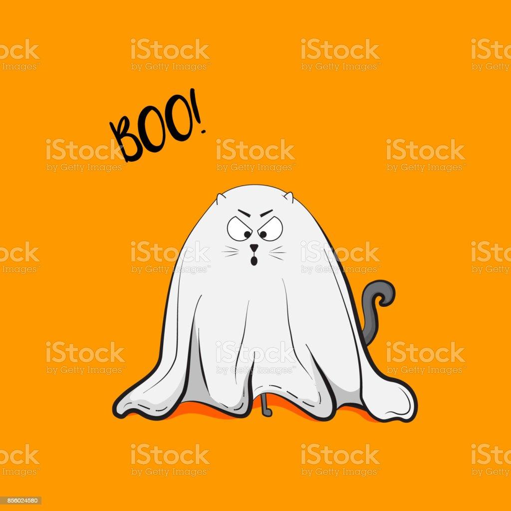ベクトル怖い猫の遊び心のある幽霊図ハロウィーン 2018 グリーティング