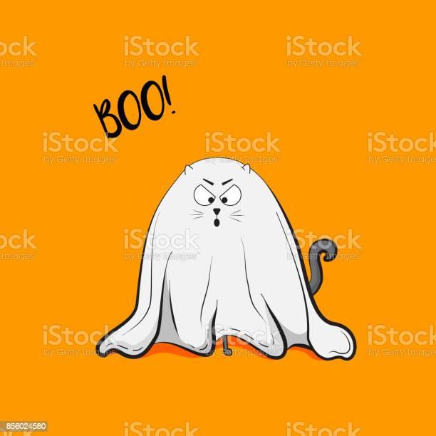 Vector scary playful cat ghost illustration halloween 2018 greeting vector id856024580?b=1&k=6&m=856024580&s=612x612&h=ymr14uwjrbhbnghbswice7qbtxbe12unf 34jwyr5y4=