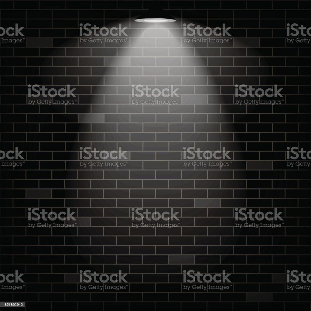 Vector scene illuminated spotlight. Black bricks wall background. - ilustração de arte vetorial