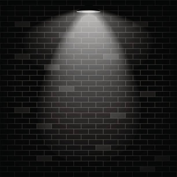 Vector scene illuminated spotlight. Black bricks wall background. vector art illustration