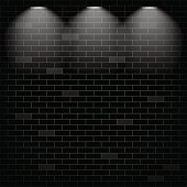 Vector Scene Illuminated Spotlight Black Bricks Wall Background Stock Art More Images Of African Ethnicity 851893074
