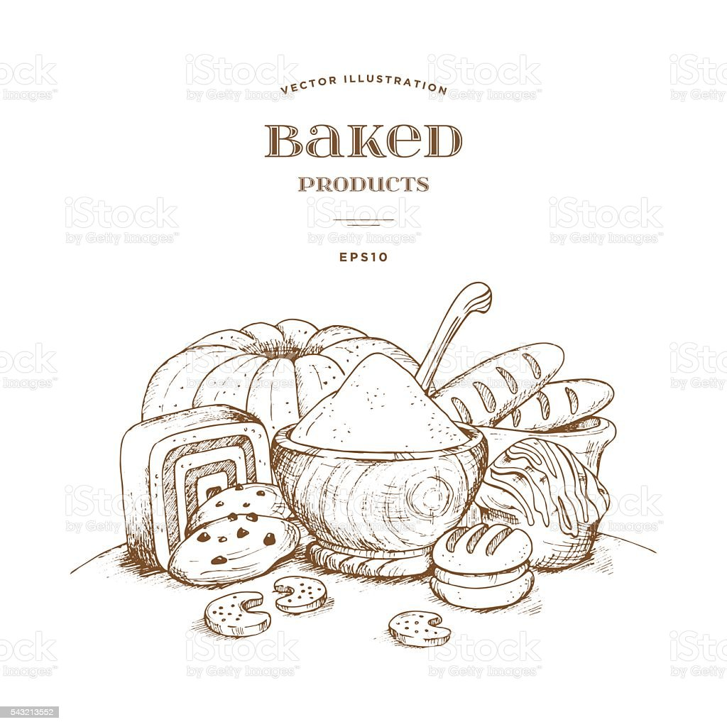 Vector scene with a wooden bowl, flour and baked product. vector art illustration