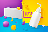 Vector 3d realistic abstract scene with pump cosmetics bottle and paper box. Bright blue, violet and yellow background with geometric shapes, with place for your text.