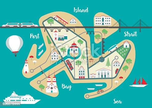 Vector scheme of nonexistent flat Island city with various buildings, bridges, churches and transport. Template for tourist map of resort city.