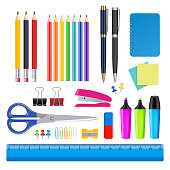 Vector realistic stationery icon set. School and office supplies.