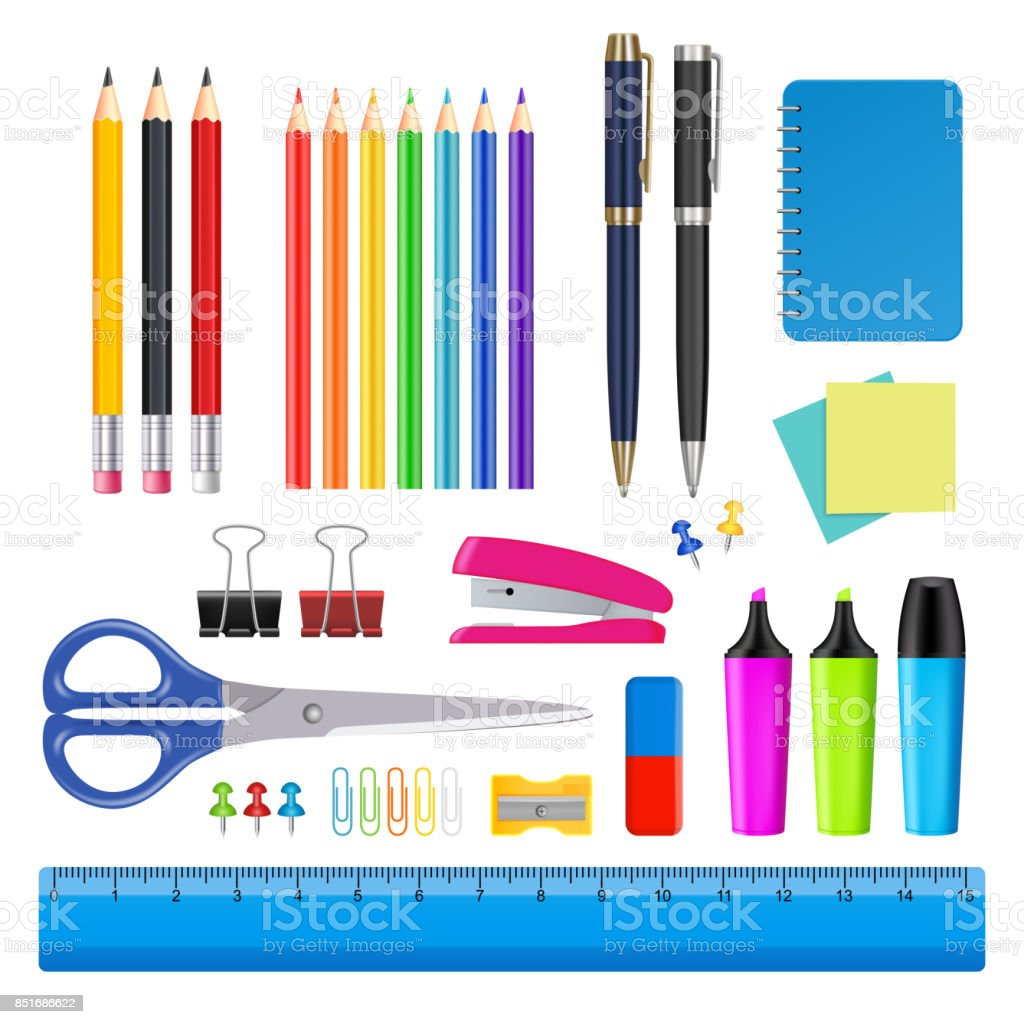 Vector school and office supplies icon set vector art illustration
