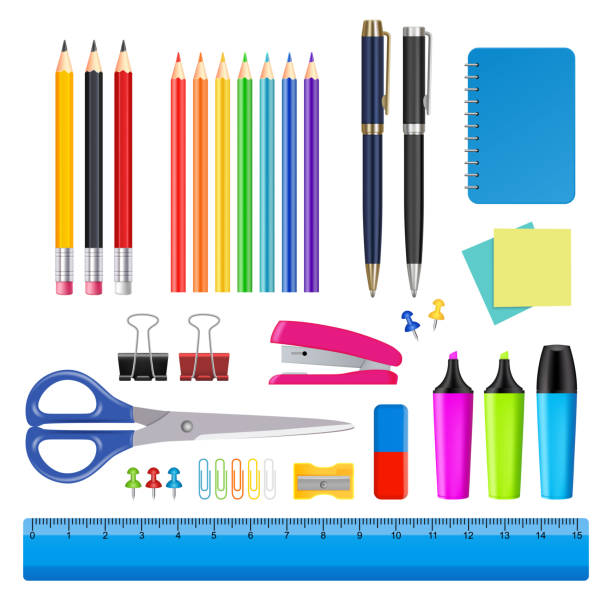 vector school and office supplies icon set - ołówek stock illustrations