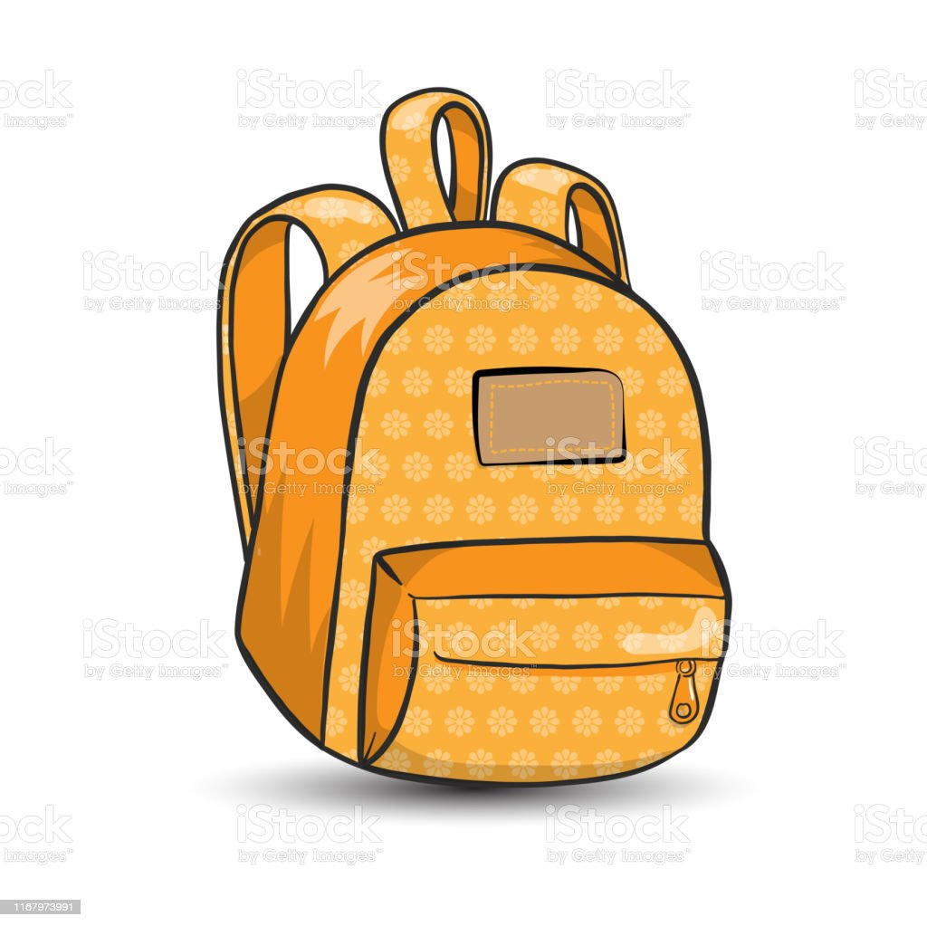 Vector school bag - backpack accessory, orange with pattern - for...