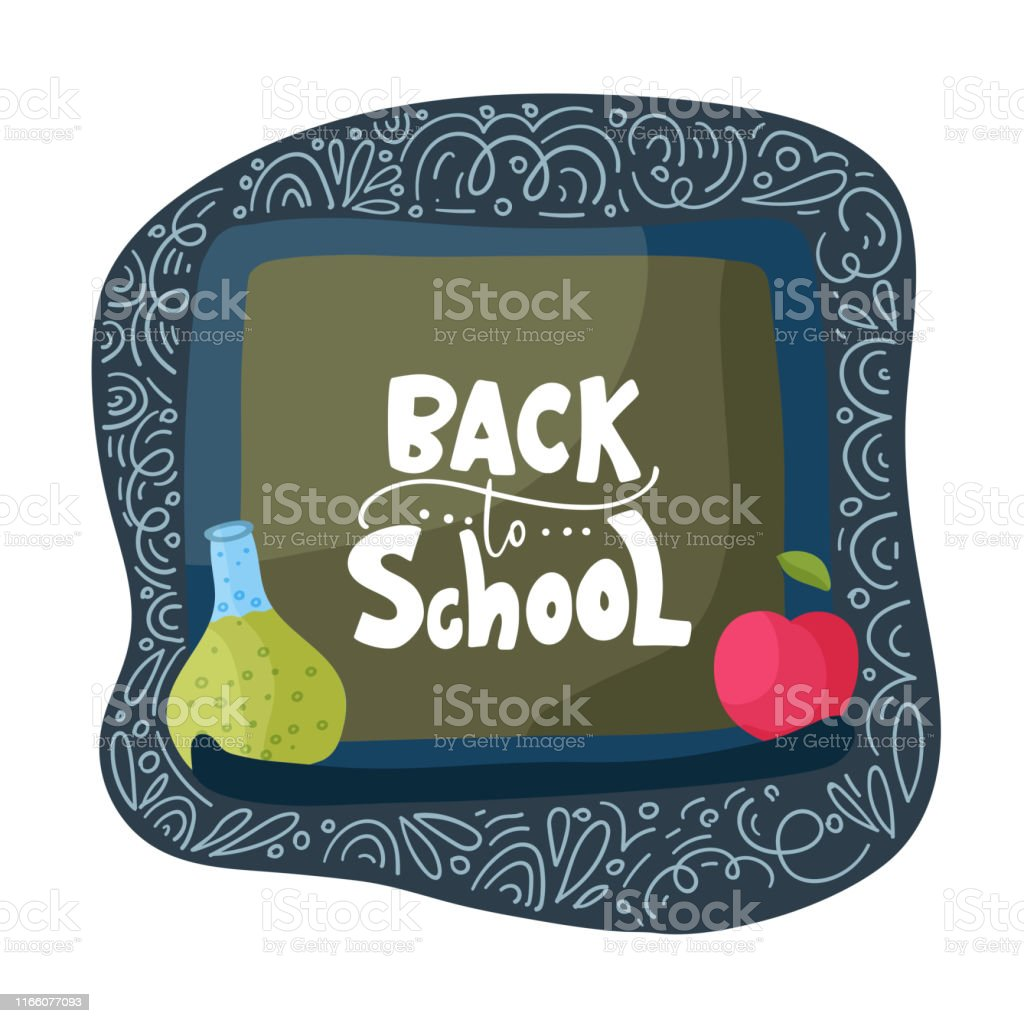 Vector school card with flat and doodle illustrations and hand drawn...