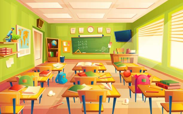 ベクトル学校教室インテリア、数学トレーニング ルーム。教育のコンセプト、黒板、テーブル家具 - 教室点のイラスト素材/クリップアート素材/マンガ素材/アイコン素材