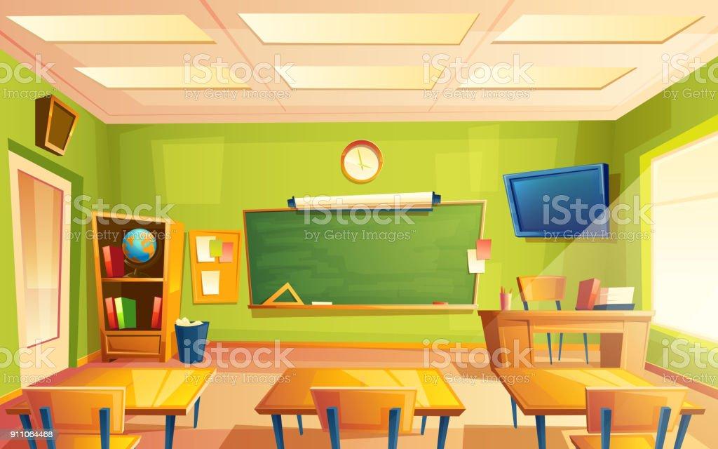 Interior de sala de aula em escola vetor, sala de treinamento. Universidade, conceito educacional, quadro-negro, mobiliário faculdade de mesa - ilustração de arte em vetor