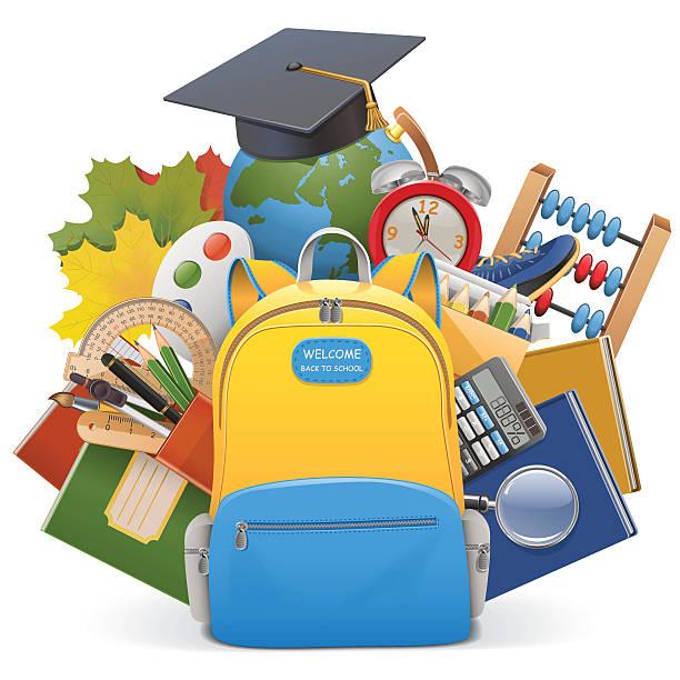 Bекторная иллюстрация Вектор концепции школы с рюкзак