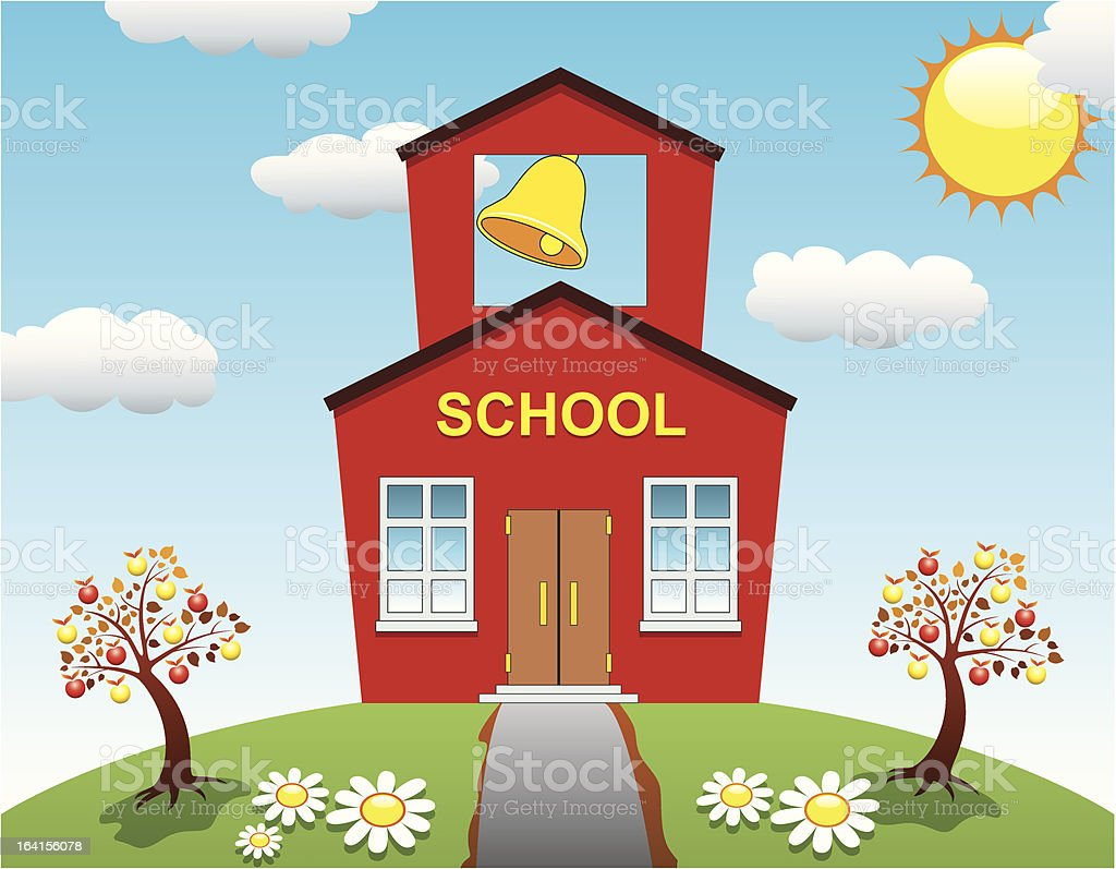 vector school house royalty-free vector school house stock vector art & more images of apple - fruit