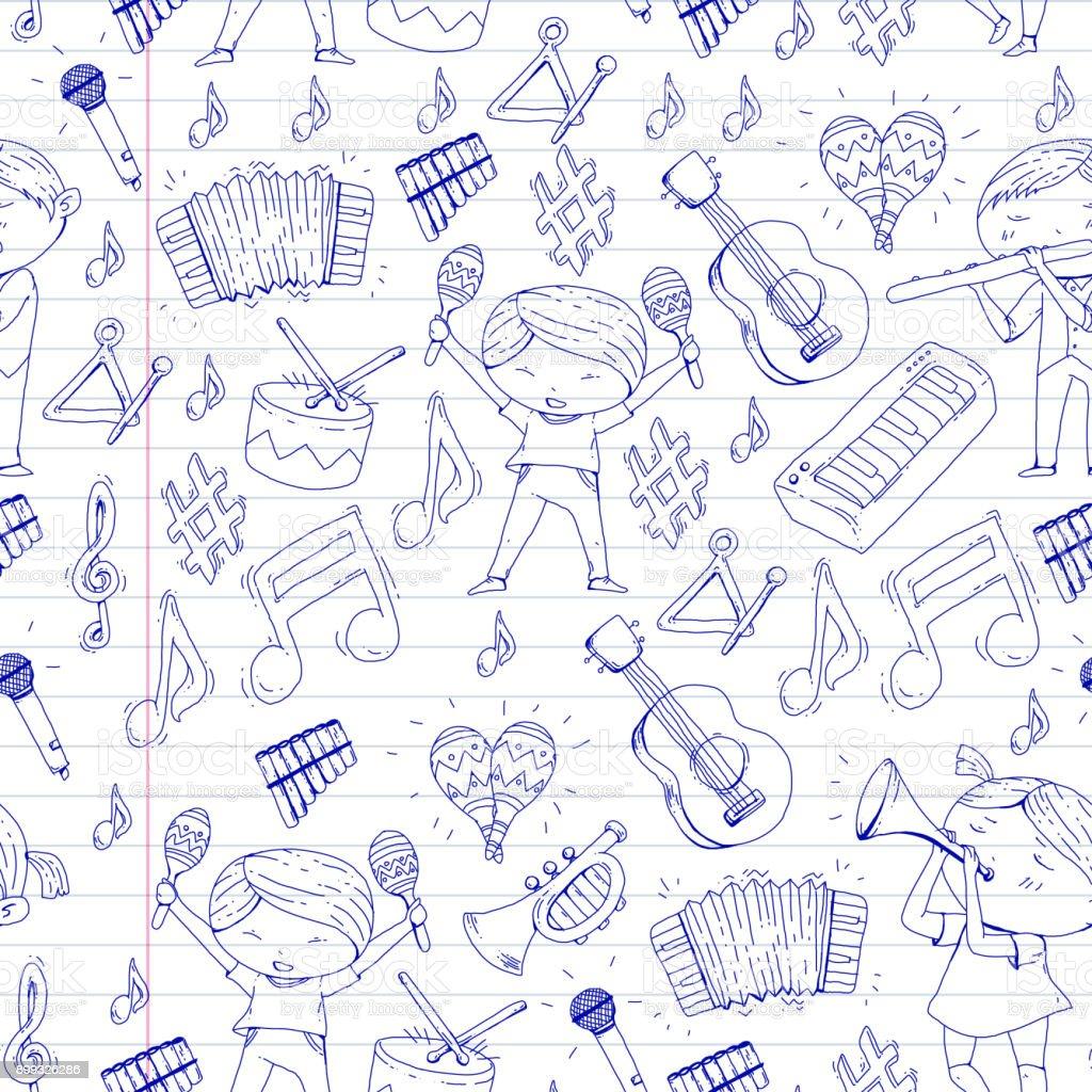 Vector school of music Musical theatre Kindergarten children with music instruments Drum, flute, accordion, trumpet, piano Music perfomance and school age kids Children orchestra vector art illustration