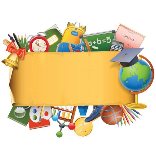 ilustrações, clipart, desenhos animados e ícones de vector escola rolagem com globo - molduras de certificados e premiações
