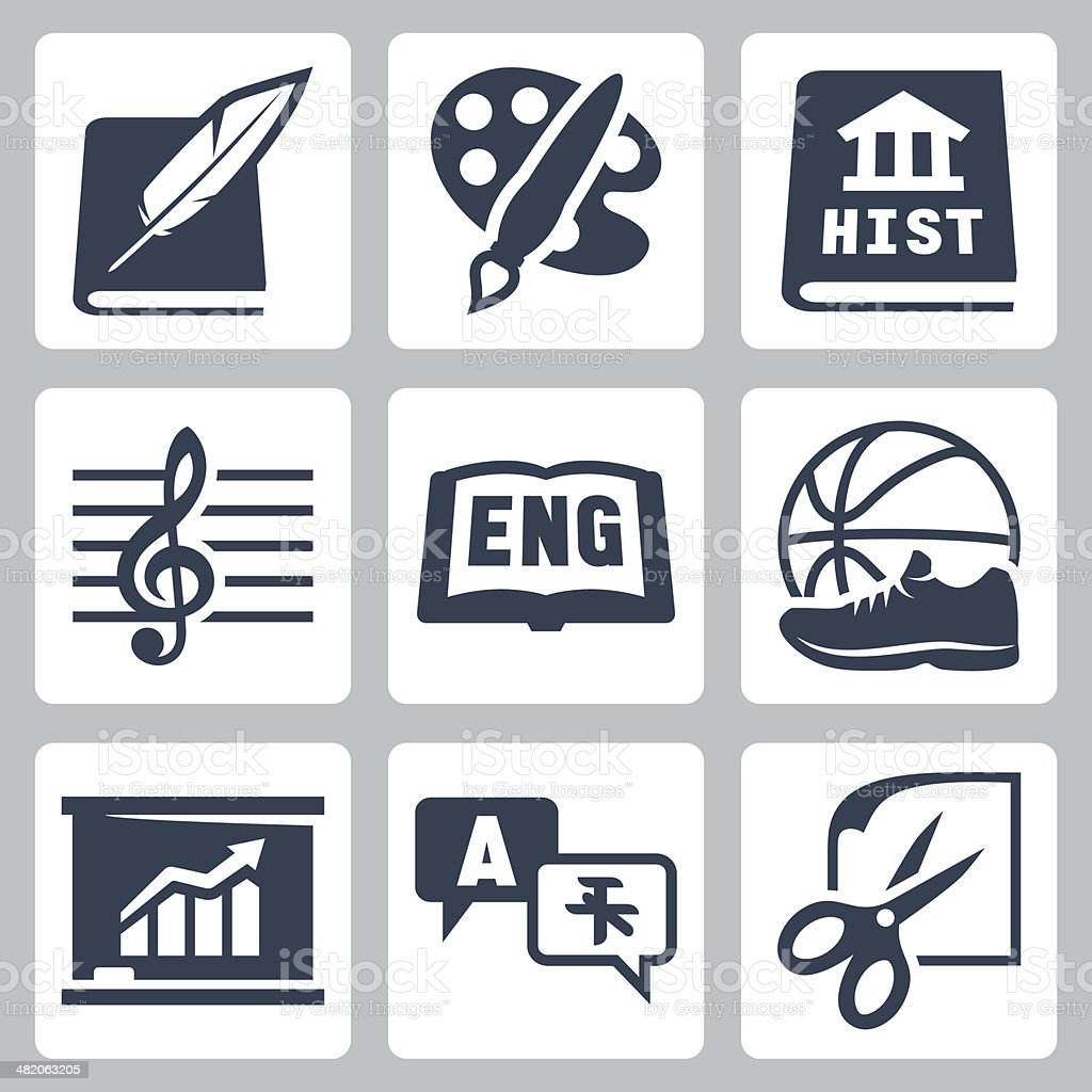 Vector school subjects icons set #2 vector art illustration