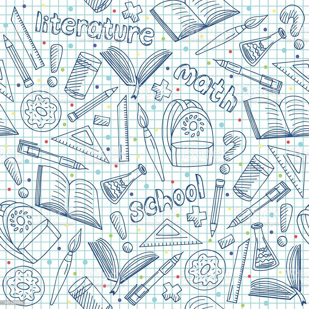 Vector School Supplies Pattern Hand Drawn Repeatable