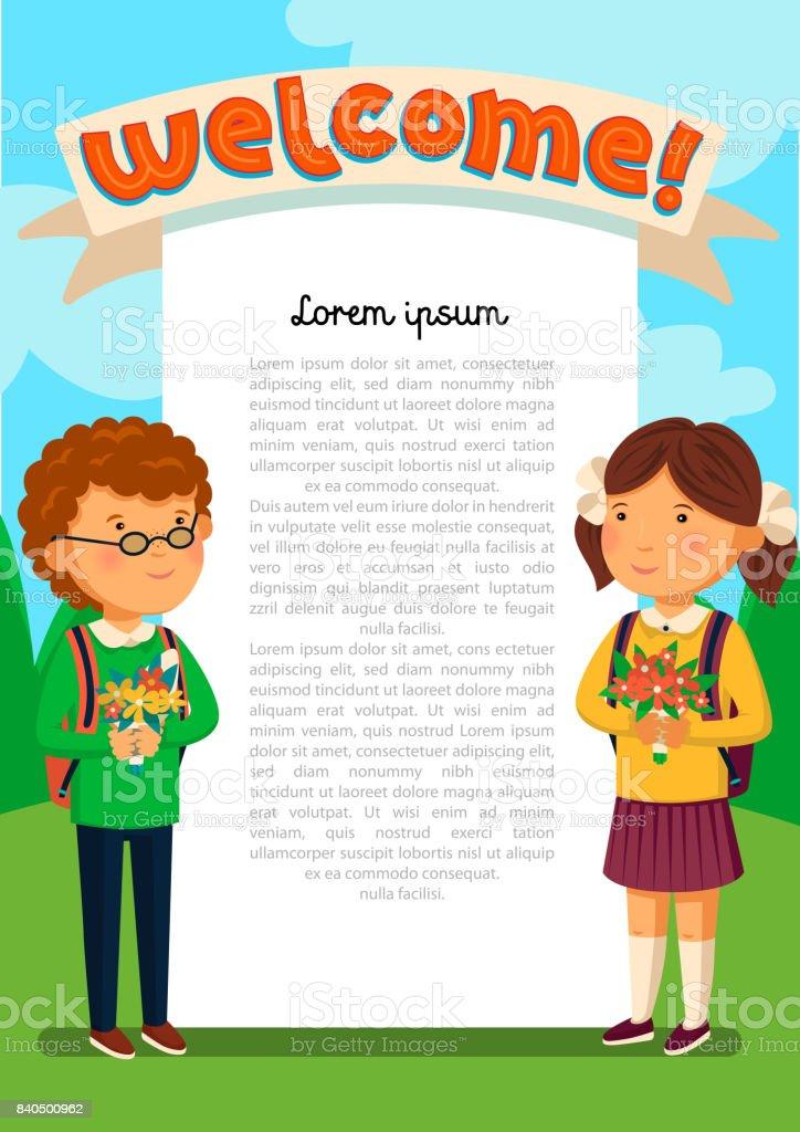 Vektorschüler Und Schülerin Mit Begrüßungstext Vorlage Welcomre ...