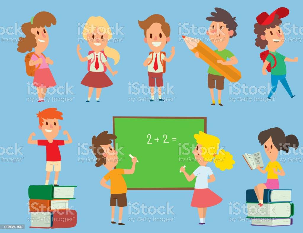 Vector Schoolkids Study Back To School Childhood Happy Primary ...