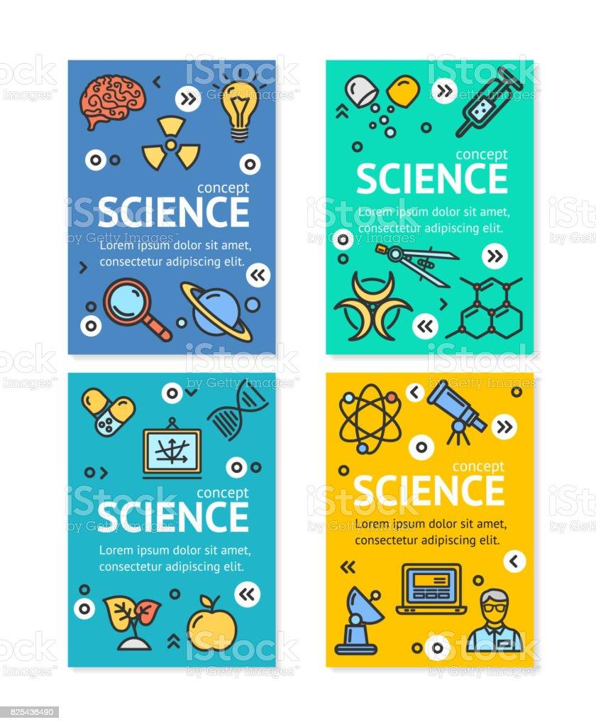 Set Plantilla De Vector Ciencia Investigación Flyer Banner ...