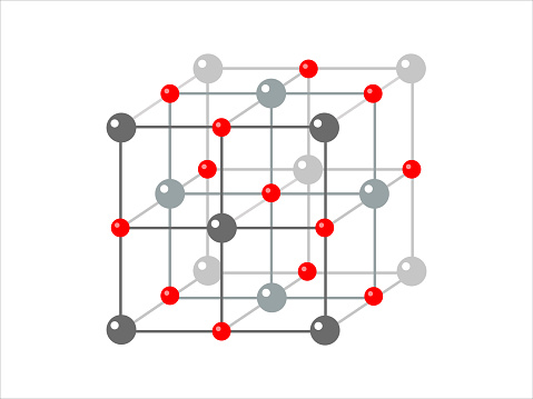 Vector scientific model of crystal structure. Photon, proton, electron.