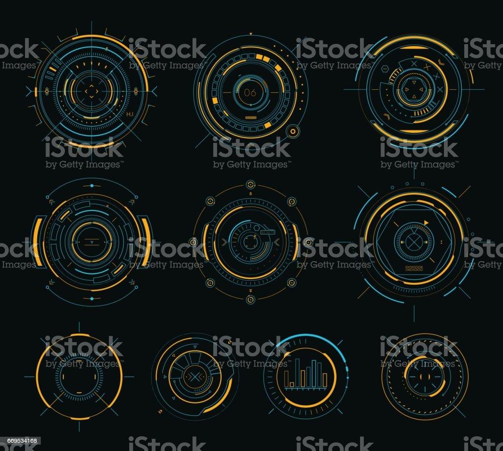 Vector sci-fi display circular elements, HUD futuristic user interface vector art illustration