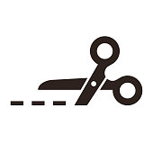 istock Vector scissors with cut lines 1077160574