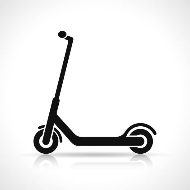 stockillustraties, clipart, cartoons en iconen met vector scooter pictogram ontwerp - step