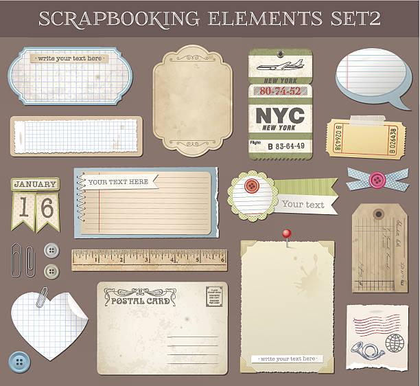 Vector Scrapbooking Elements Set 2 Collection of various scrapbooking vector elements and Templates. scrapbook stock illustrations