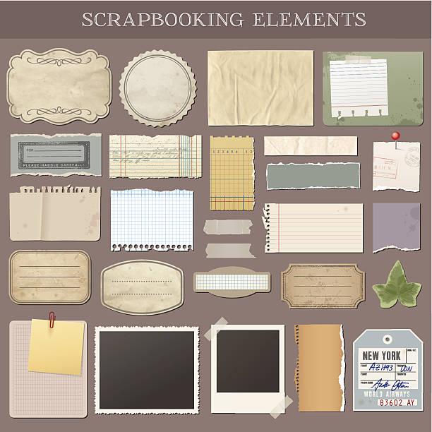 ilustraciones, imágenes clip art, dibujos animados e iconos de stock de vector elementos scrapbooking - bordes de marcos de fotografías