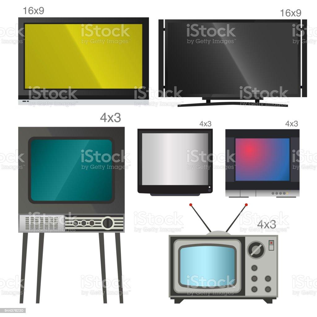 Tv Vektor Bildschirm Lcdmonitor Und Notebook Tabletcomputer ...