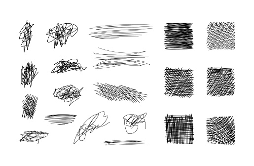 Vector scribble design elements collection, black freeand drawings isolated on white background, hatching templates.