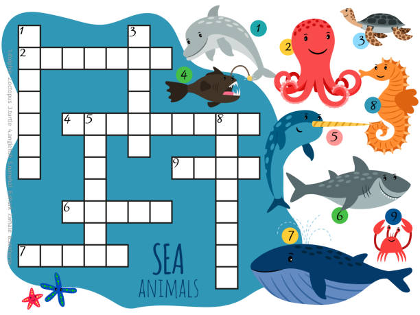 Vector Sea Animals Crossword Template With Cartoon Characters Stock Illustration Download Image Now Istock