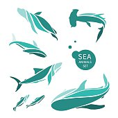 vector sea animals logo set