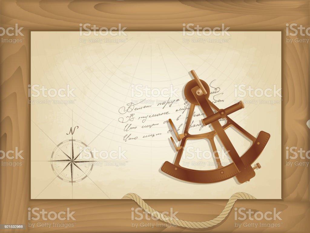 Ilustración de Vector Fondo De Mar Un Viejo Mapa En Un Marco De ...