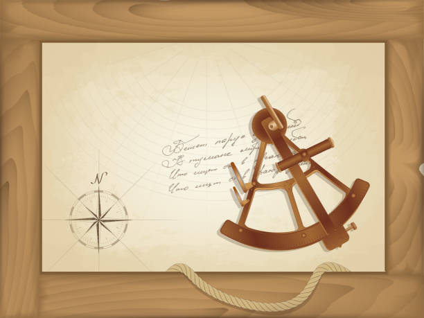 ilustrações de stock, clip art, desenhos animados e ícones de vector sea background. an old map in a wooden frame. bronze sextant. painted compass and notes in an incomprehensible language. hanging rope - sextante
