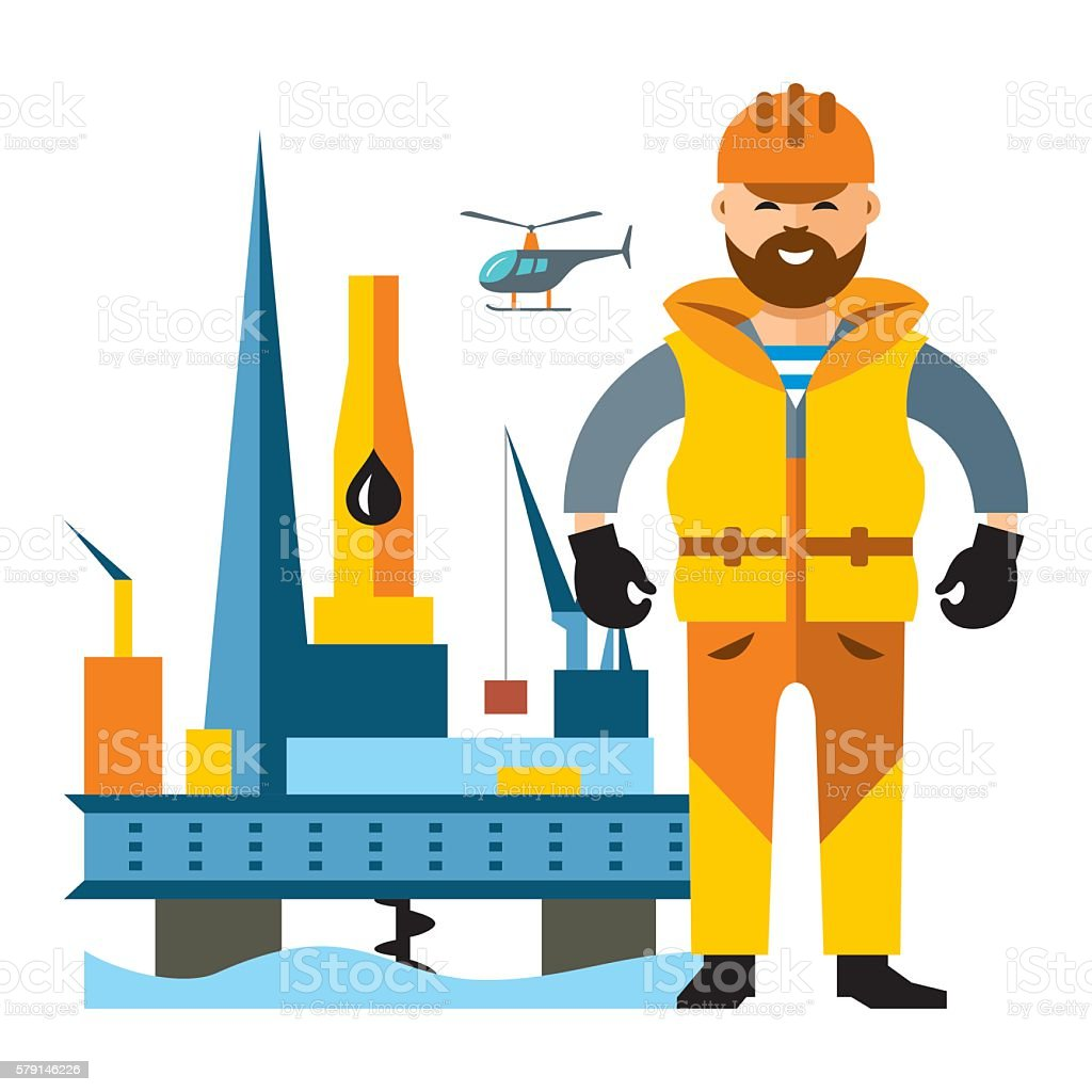 Vector Sea Oil Rig Drilling Platform and oilman. Flat style vector art illustration